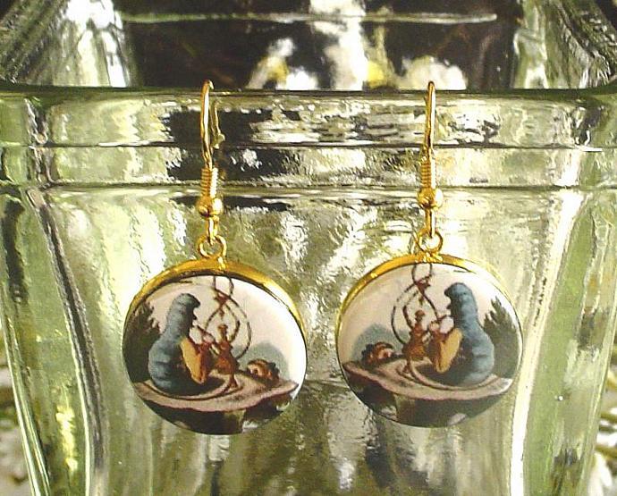 CATERPILLAR EARRINGS Altered Art from Alice's Adventures in Wonderland