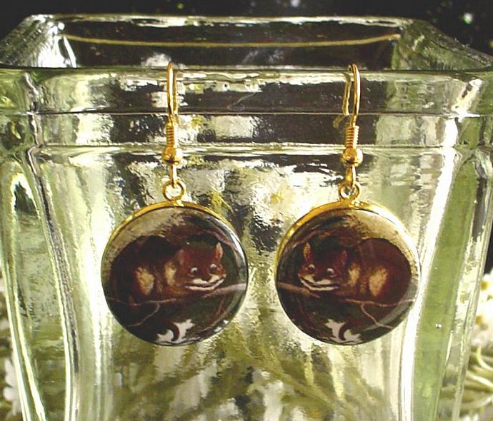 CHESHIRE CAT EARRINGS Altered Art from Alice's Adventures in Wonderland