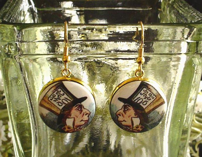MAD HATTER EARRINGS Altered Art from Alice's Adventures in Wonderland