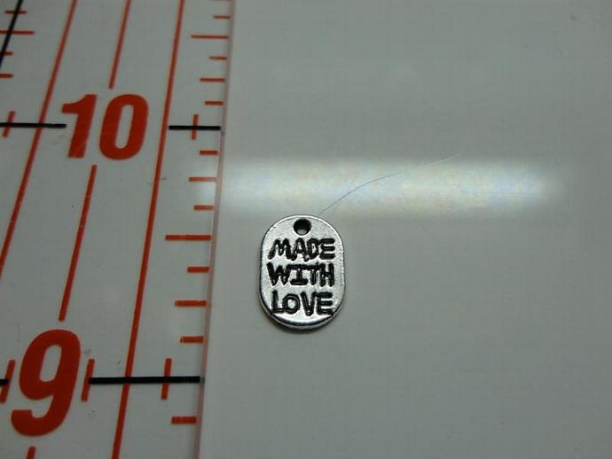 Made With Love Tag Charm - Silver