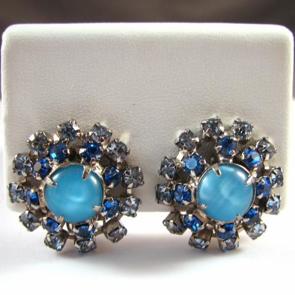 Vintage Blue Moonglow and Rhinestone Earrings