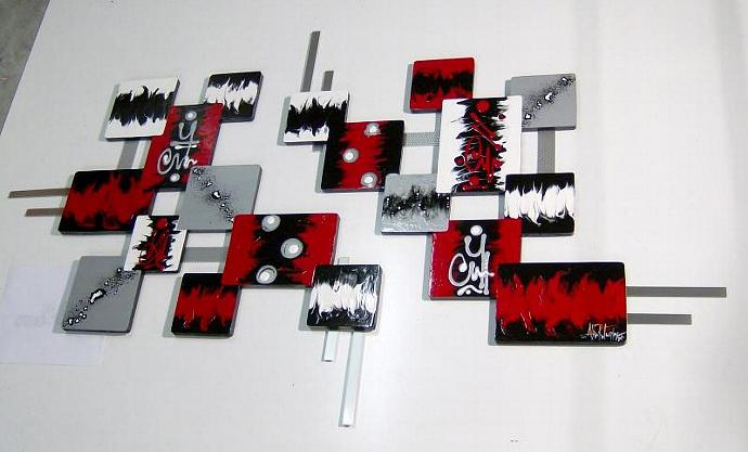 "HUGE 2pc Designer Red n Black Abstract Geometric Wall Sculpture 84""x 56"",wall"