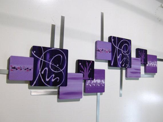 Lovely 2pc Purple Abstract design Modern Wood Squares w Metal 53x25, wall decor,