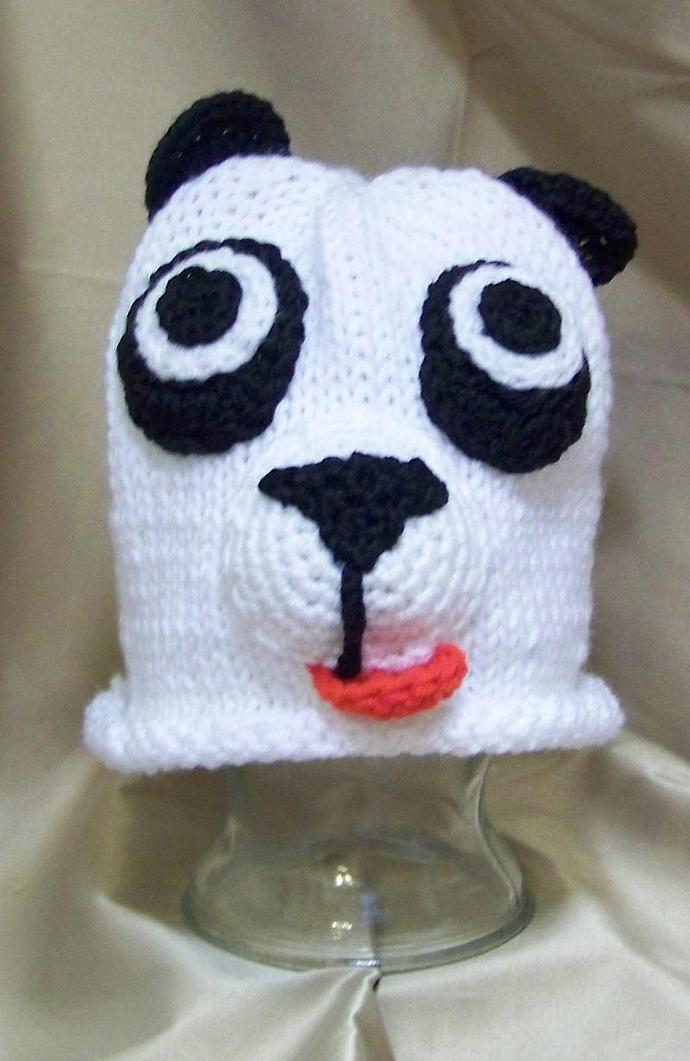 Knitted Baby Panda Beanie Hat Pattern