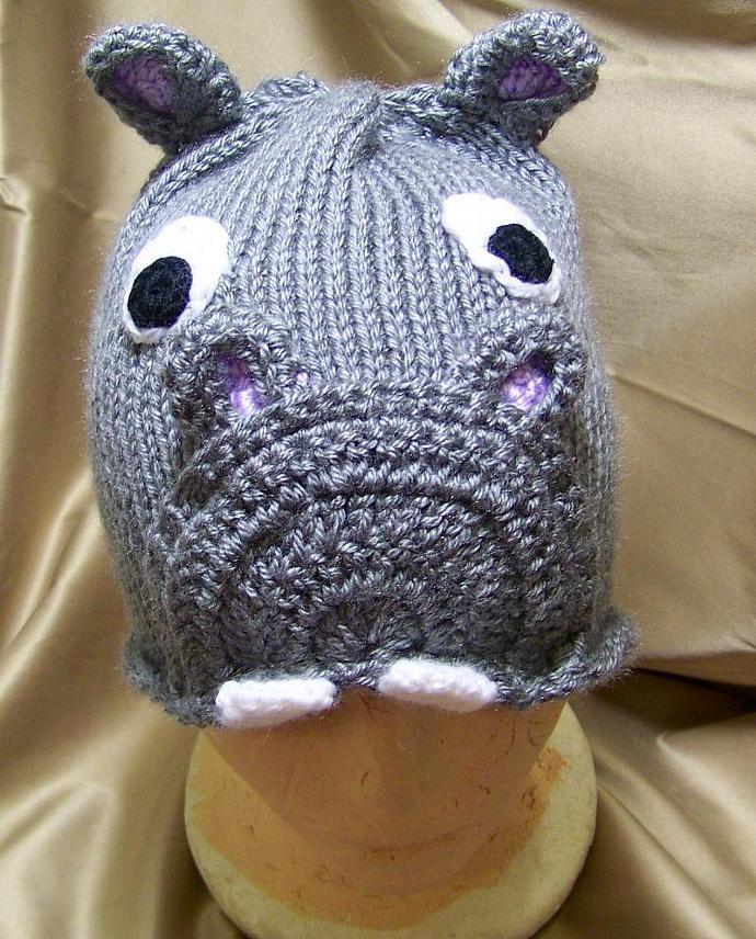 Knitted Hippo Beanie Hat Pattern By Crochetfactor On Zibbet