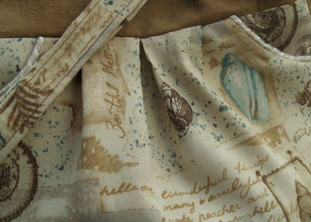 Seashells Sand and Script Handcrafted Lined Bag