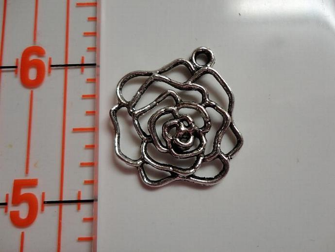 Rose Charm #003 - Silver