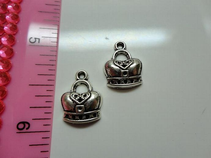 Crown Charm with Heart - Silver