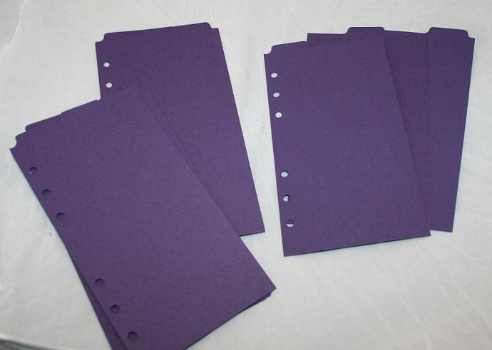 12 Eggplant heavy cardstock Top Tab monthly dividers for Filofax Personal FF102
