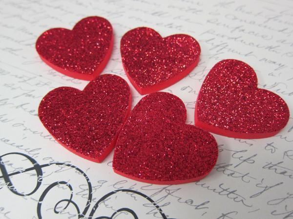 5pcs Foam Hearts - 1/4 or 1/8 inch