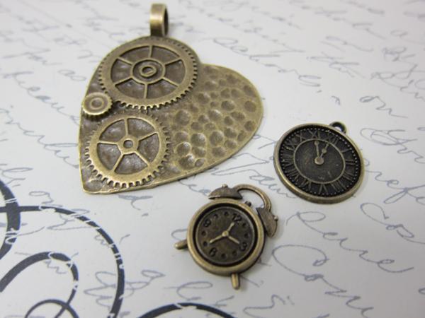 Steampunk  Bronze Clock Set 3pc