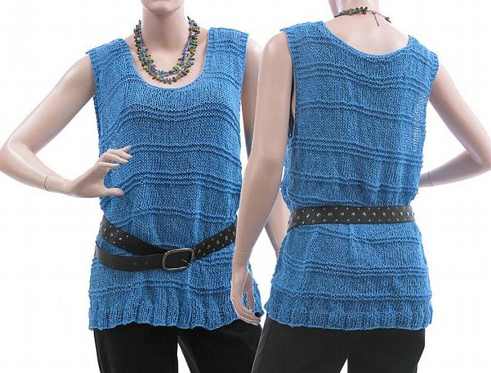 Hand knitted tank top in blue (loosely knitted) /  lagenlook for plus sized