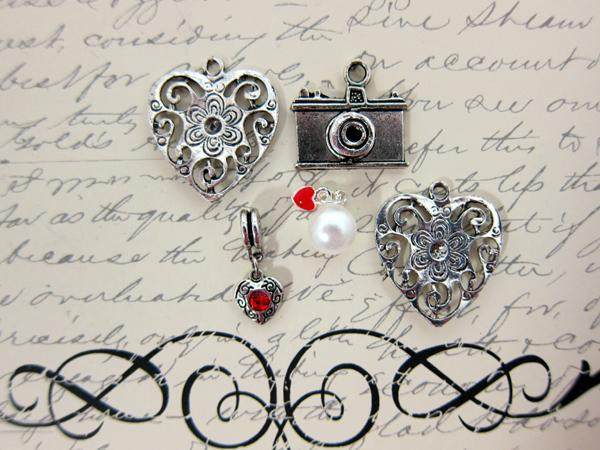 5pc Metal Dangle Clip on Charms - Picture You  Set - Camera, Pearl, Heart