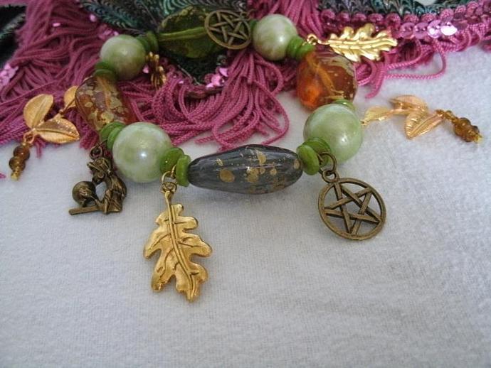 Gypsy Witch Pentacle Charm Bracelet, wiccan jewelry pagan jewelry wicca jewelry