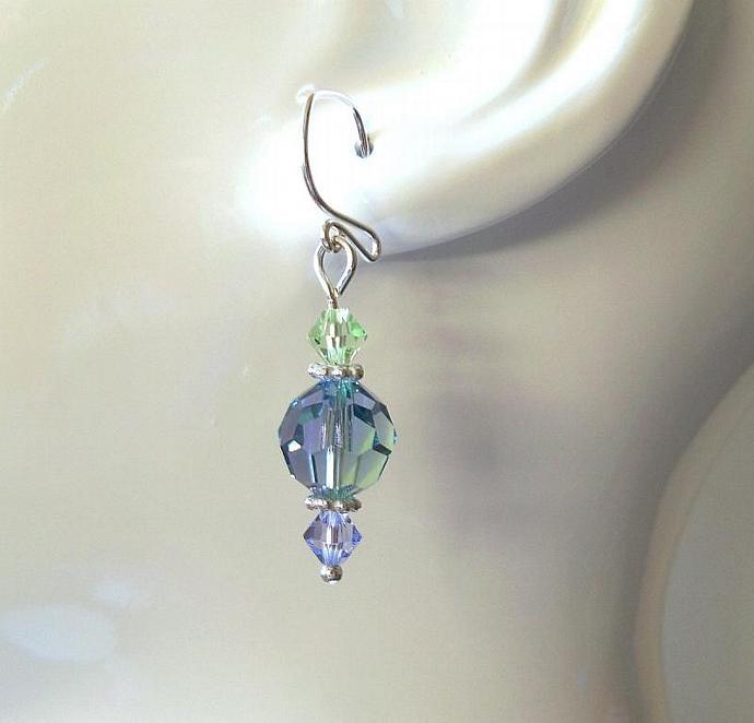 Crystal Earrings Swarovski Lavender and Chrysolite