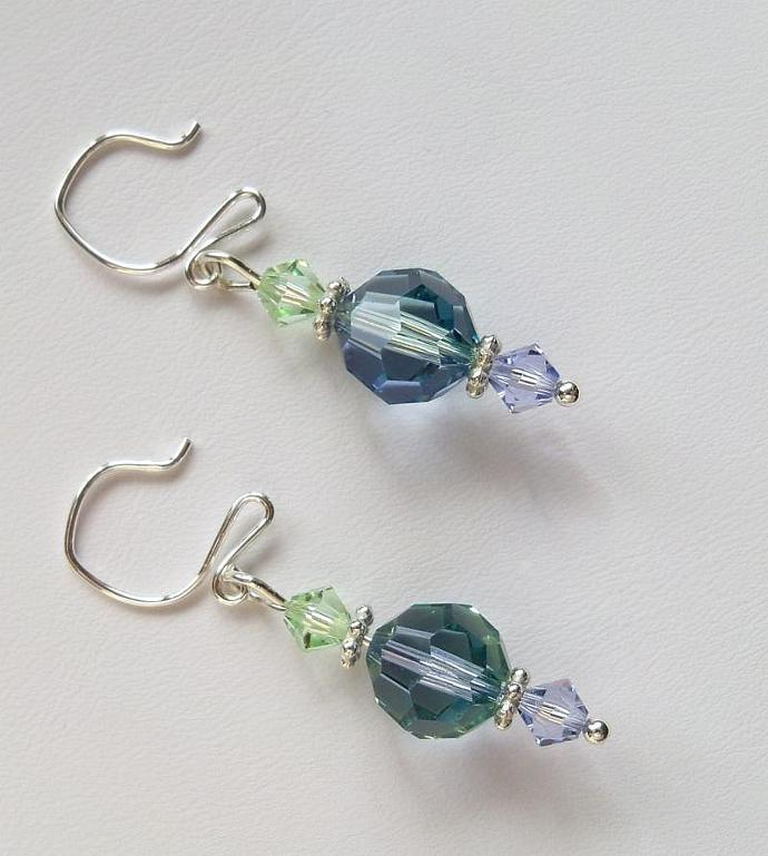 Crystal Earrings Swarovski Lavender and Chrysolite