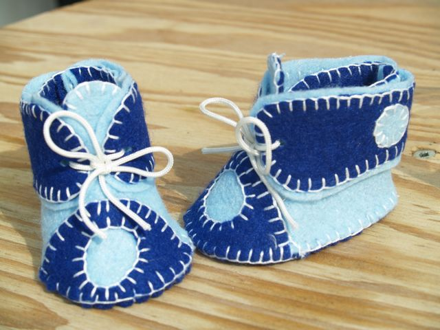 Baby Boy Blue Handstitched Felt Booties