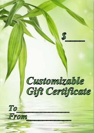 Gift Certificate Customized for any amount