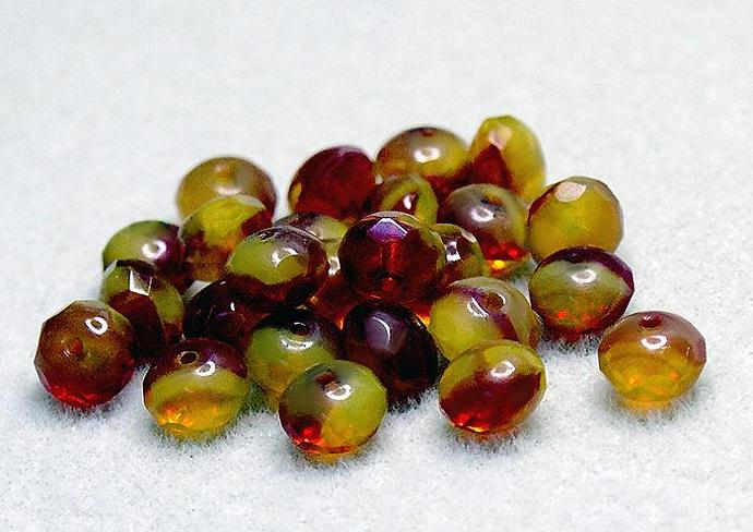Lemon Cherry Donuts- premium Czech glass beads