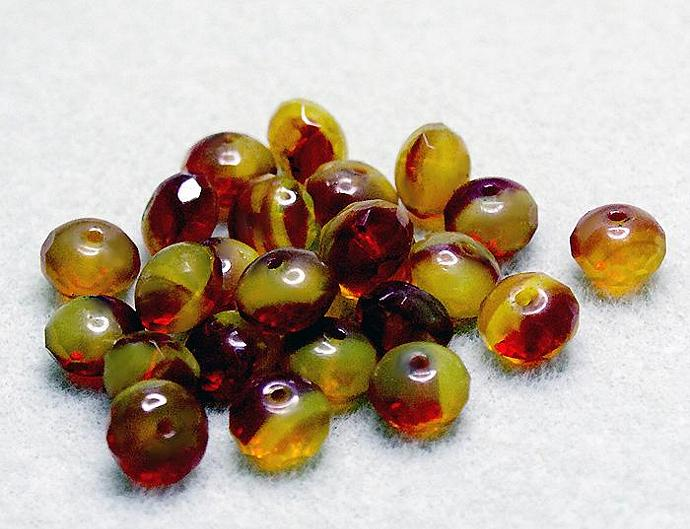 Lemon Cherry Donuts- premium Czech glass beads