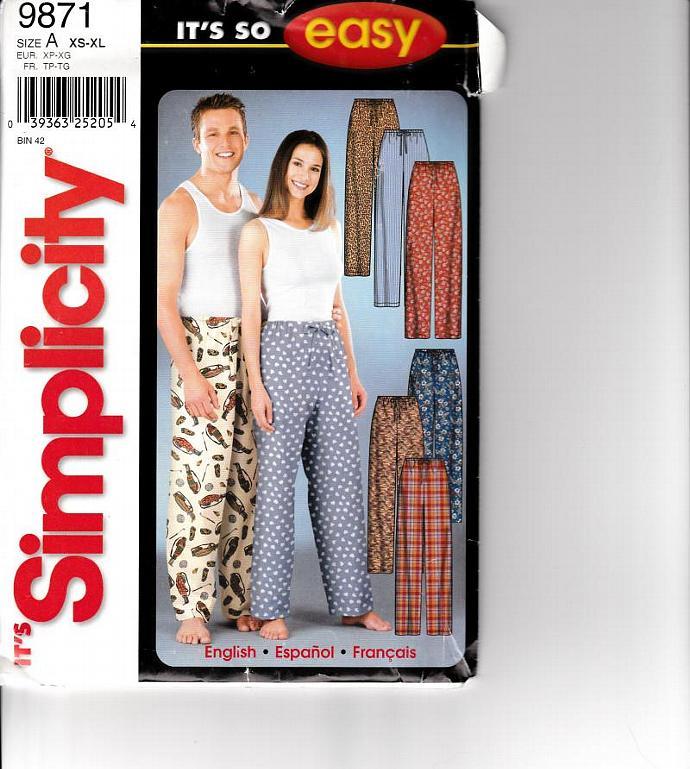 Simplicity Pattern 9871 Men & Women's Multi-Sized Lounge Pants / PJ Bottoms