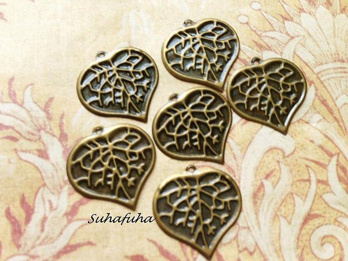 8 Antiqued Bronze Heart LEAF Filigree Findings - #F-25