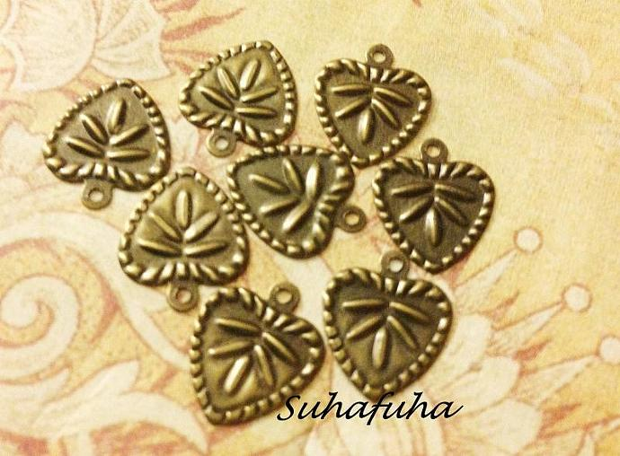 8 Antiqued Bronze HEART Filigree Findings - #F-26