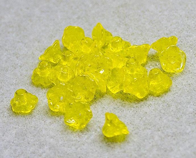Preciosa Lemon Drop Flower Cups- premium Czech glass beads