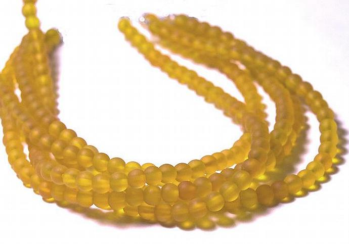 Golden Sunshine- recycled sea glass beads