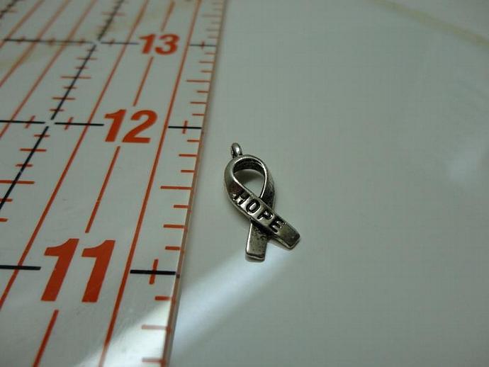 Hope Ribbon Charm - Silver