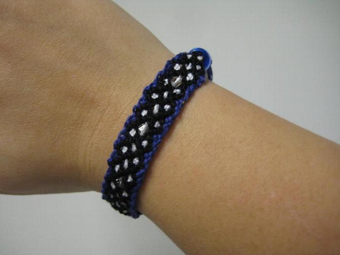 Beaded Polka Dot X-Pattern Micro Macrame Friendship Bracelet In Royal Blue,