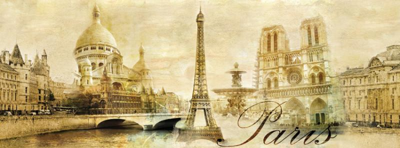 Panoramic Mural Sticker Paris Vintage Classic Gold By