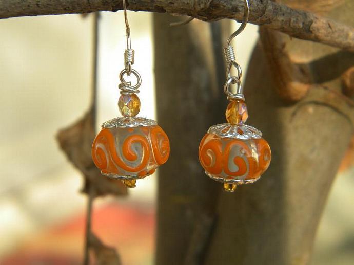 Orange Swirl Lampwork Earrings E028
