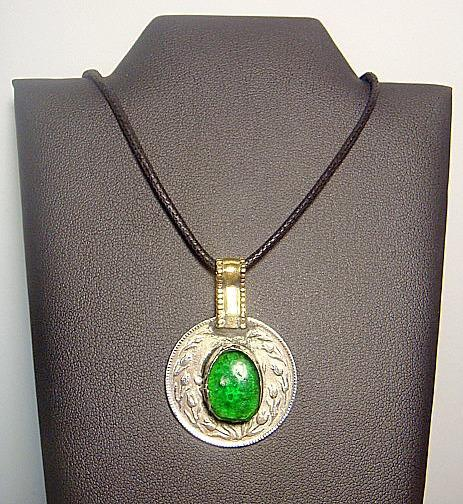Afghanistan 1365 Coin with Green Stone Pendent Necklace
