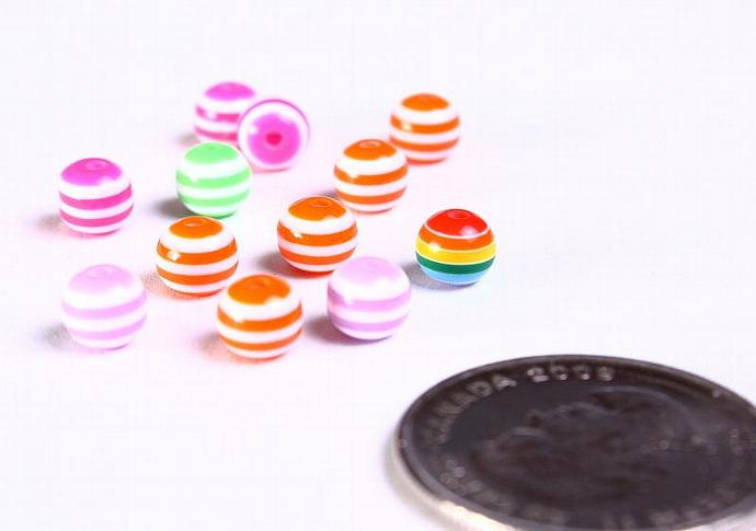 12pc 6mm mixed color striped acrylic resin beads 12 (886)