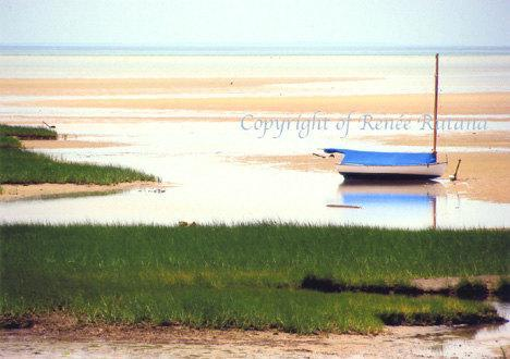 Mant's Point, Eastham, Cape Cod Beach, Boat Photo Matted Print