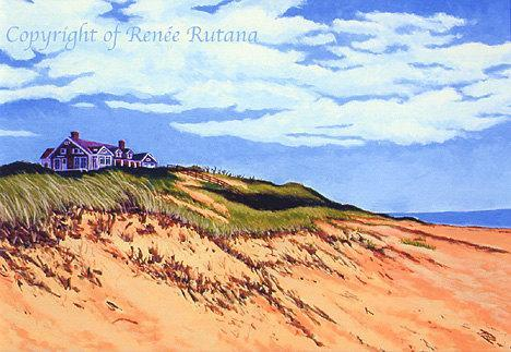 CAPE COD Seascape Truro Wellfleet House on Dune Beach Ocean Matted Print