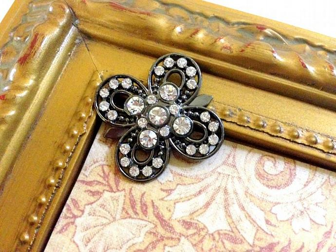 2 Metal Rhinestone Flower Buttons Flat back- 25mm Gray Finish -