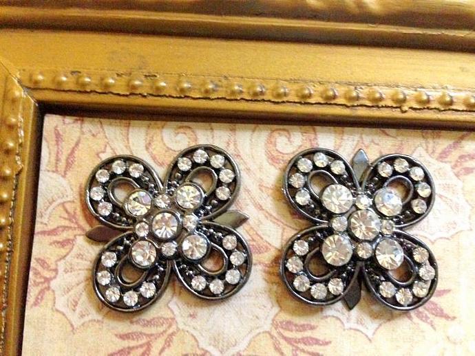 2 Metal Rhinestone Flower Buttons Flat back- 25mm Gray Finish -