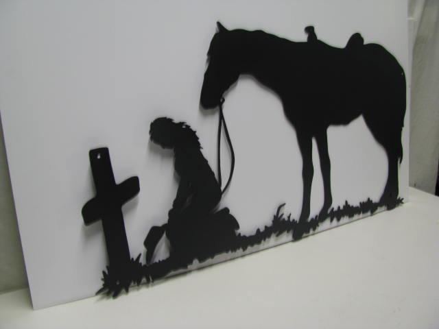 Cowgirl Praying Hat in Hand Metal Yard Art Western Silhouette