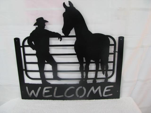 Cowboy and Horse Welcome Western Metal Wall Yard Art Silhouette
