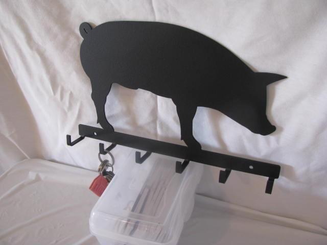 Hog Silhouette Key Holder Metal Wall Art Farm
