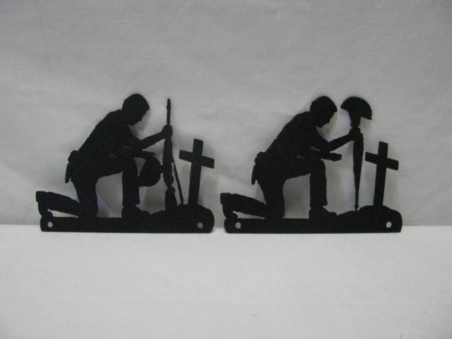 Soldier Praying Set of (2) Extra Small Metal Wall Yard Art Silhouette