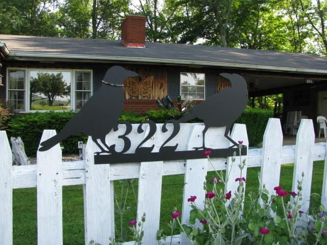 Two Old Crow's Address Sign Metal Wall Yard Art Silhouette