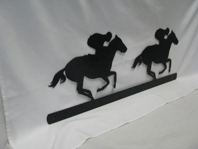 Thoroughbreds Racing Metal Wall Yard Horse Silhouette