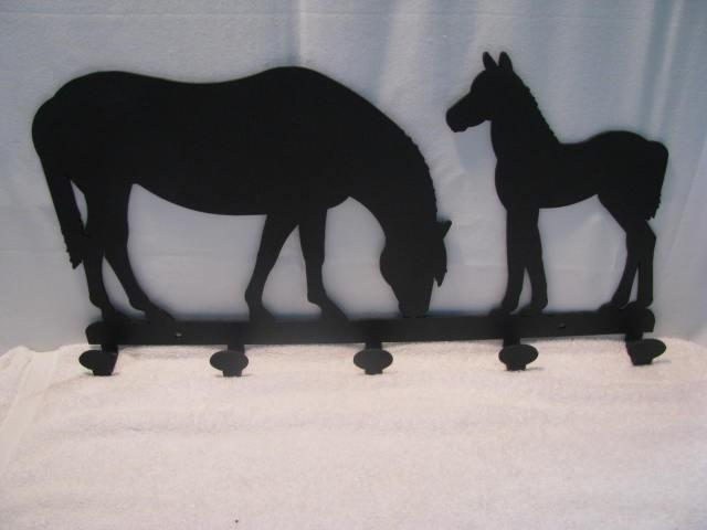 Horse and Colt Coat Rack Metal Western Wall Art Silhouette