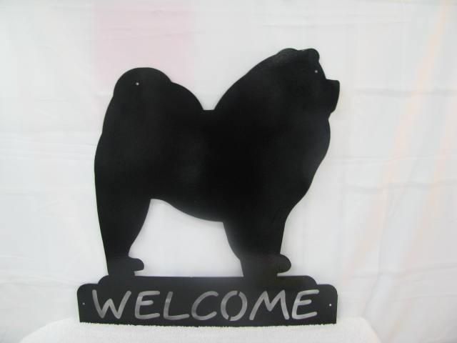 Chow Welcome Metal Dog Wall Yard  Art Silhouette