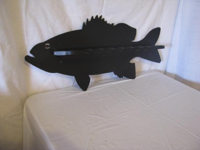 Bass Towel Rack Black Metal Wall Art Silhouette