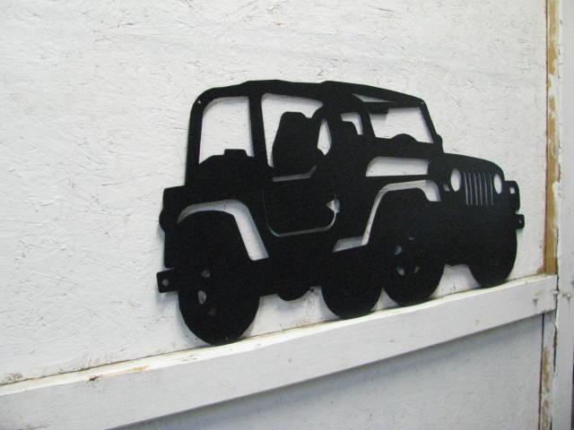4 Wheeler Jeep Off Road Metal Wall Yard Art Silhouette XL
