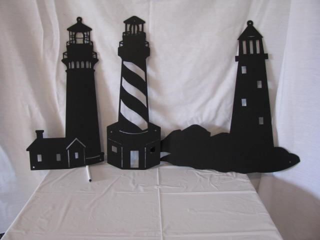 Lighthouse Metal Silhouette Set of Three